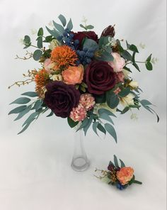 Burgundy, Bouquet, Ivory, Orange, Bridal, Flowers, Bride, Bouquet Of Flowers, Floral