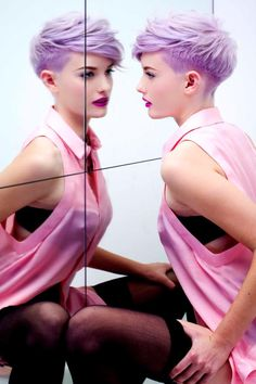 Purple short hair / undercut. Hair: Adam Ciaccia Photo: Jez Rozdarz Styling: Sofia Polak/Nicole Dwight MUA:Dave Reid\Mary Li