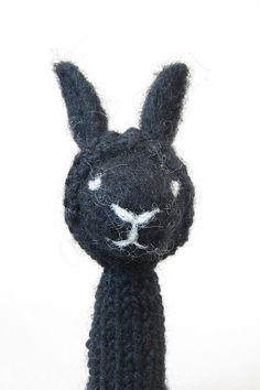 Black Rabbit Finger Puppet Soft Toy needlefelted by LazyAnimals, $26.00
