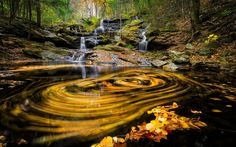 Download wallpapers autumn, lake, blur, waterfall, autumn landscape, forest, yellow leaves
