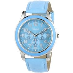 """Breda Women's 7210-blue """"Emmaline"""" Classic Blue Bezel Leather Watch - designer shoes, handbags, jewelry, watches, and fashion accessories 