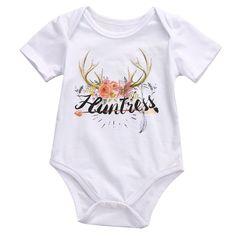 Huntress Baby Girl Watercolor Print Onesie & Headband Deer Antlers Bodysuit 0-3 mo Newborn Clothing & Gifts