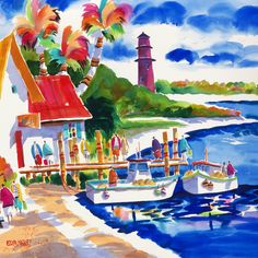 Coastal Art Beach Art Boat Art Watercolor Painting Beach Print Tropical Painting Ellen Negley Matted 11 x 14 16 x 20 x 24 Beach Watercolor, Watercolor Print, Watercolor Illustration, Watercolor Paintings, Colorful Paintings, Lighthouse Art, Jupiter Lighthouse, Caribbean Art, Boat Art