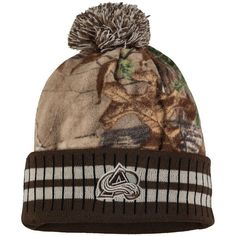 Colorado Avalanche Old Time Hockey Realtree Xtra Cuffed Knit Hat With Pom - Camo/Brown