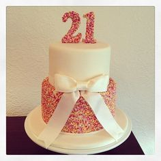 I would like to get this for my birthday :)Rainbow cake inside. I made the Cake Topper using gum paste covered in hundreds and thousands. 21st Cake, 21st Birthday Cakes, 21 Birthday, Glitter Birthday Cake, Happy Birthday, Birthday Ideas, Pretty Cakes, Cute Cakes, Hundreds And Thousands Cake