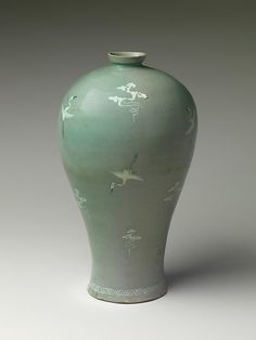 Maebyeong with Decoration of Cranes and Clouds Period: Goryeo dynasty Date: second half of the century Culture: Korea Medium: Stoneware with inlaid decoration under celadon glaze Dimensions: H. Korean Art, Asian Art, Korean Pottery, Japanese Pottery, Moon Jar, Fire Art, Medieval Art, Objet D'art, Art Object