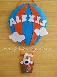 Baby name felt air balloon with dog - Nombre bebe globo aerostático con perrito en fieltro
