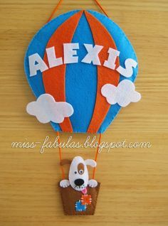 Baby name felt air balloon with dog - Nombre bebe globo aerostático con perrito en fieltro