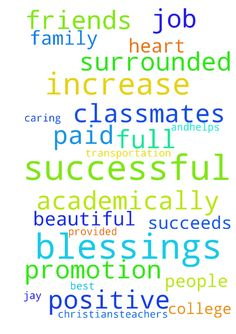 I pray.. -  �I pray that Christian's�teachers favors and�helps him! I pray he succeeds academically! I pray that he is surrounded by positive friends and classmates! I pray Nicholas is successful academically and in football season! I pray that he is accepted into a good college with full paid tuition! I pray he is successful and surrounded by positive friends and classmates that has his best interest at heart! I pray that Fernando is successful in his career! I pray for increase and…