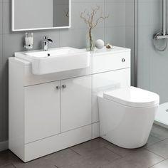 1160mm Harper Gloss White Combined Vanity Unit - Lyon Pan