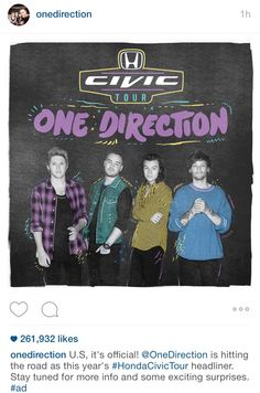 For the next leg of the tour the boys are teaming up with Honda Civic! Who's excited? - 6.1 (by: @KRF1D)