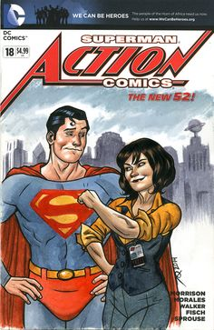 Lois and Clark. A commission from Boston Comic Con, 2014. Pen & ink, w/watercolor on a comic sketch cover by Joe Quinones