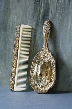 Vintage Hairbrush and Comb, Silver Plated Brush and Comb Set, Victorian Style, Romantic Silver Patina