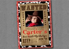 Cowboy Birthday Invitation Printable. $10.00, via Etsy.