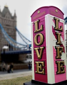 Pink phonebooth in London