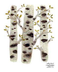 birch trees woodland archival art print watercolor reproduction. $36.00, via Etsy.