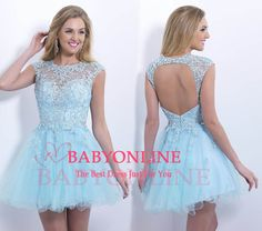 Charming Homecoming dresses,Beaded Lace Blue Tulles Short Prom Dresses Open Back Party Dress