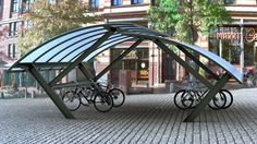 Double K3 bike shelter by the Danish firm Cycle Spaces. Click image for details & visit the Slow Ottawa 'Nice Racks' board for more smart design.