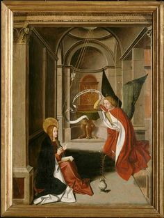 "Josse Lieferinxe, ""Annunciation"" Musée du Petit Palace, Avignon. Josse Lieferinxe (working ca 1493–1503/08) was a South Netherlandish painter, formerly known by the pseudonym 'the Master of St. Sebastian'."