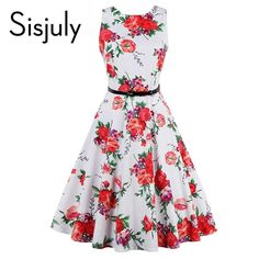 Sisjuly fashion retro dress cotton elegant style party dresses 1950s rockabilly dresses festa sashes women dress