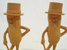 Original Planters Peanuts Mr. Peanut Salt and Pepper Shakers Vintage 1950 #Planters