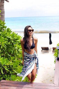 Scarf: with love from kat, blogger, bag, swimwear, sunglasses, bikini, black bikini - Wheretoget