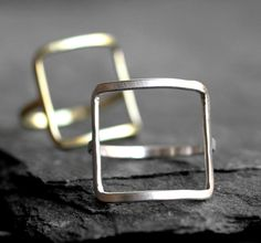 modern square ring gold silver square ring modern by museglass