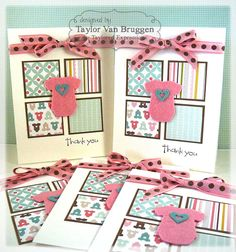 Baby Thank You's by Taylor VanBruggen #Baby, #ThankYou, #Cardmaking