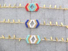 Bracelet ★ Chevrons ★rouge doré à l'or fin 24K
