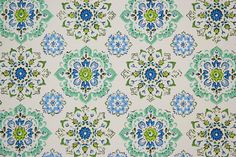 1970s Retro Vintage Wallpaper Blue and Green Geometric by the