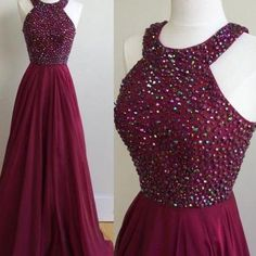 Burgundy Chiffon Long Prom Dress, H..