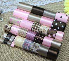 DIY ribbon set---pink&coffee color mix ribbon set(total 34 yard)