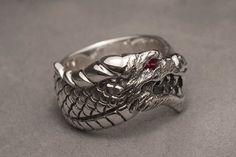 Dragon head ring with ruby eye  Sterling silver by DansMagic