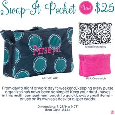 Swap-It Pocket by Thirty-One. Fall/Winter 2016. Click to order. Join my VIP Facebook Page at https://www.facebook.com/groups/1603655576518592/