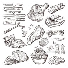 Different Meat Food. Pork, Bacon and Kitchen by ONYXprj Different meat food. Pork, bacon and kitchen accessories. Knife and axe vector. Hand drawn meat and knife for cut beef illustratio Meat Drawing, Food Drawing, Pork Bacon, Pork Meat, Meat And Potatoes Recipes, Meat Recipes, French Bulldog Tattoo, Recipe Drawing, Doodle Characters