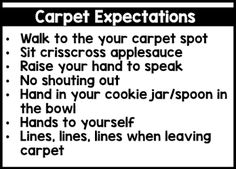 Freebie back to school expectation cards
