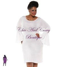 New Plus Size Bell Sleeve Dress in White available at www.chicandcurvy.com