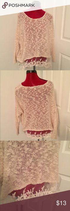 Selling this Cream lace Lined knit bohemian sweater on Poshmark! My username is: jonsey772. #shopmycloset #poshmark #fashion #shopping #style #forsale #olivia sky #Sweaters