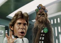 Star Wars (Han Solo y Chewbacca) - Caricature | alexgallego.com