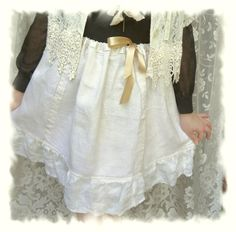 Mori Girl Linen Skirt Cowgirl Chic Boho by BerthaLouiseDesigns, $34.95