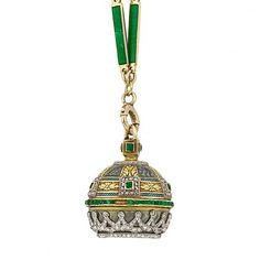 Belle Époque Gold, Platinum, Enamel, Diamond and Emerald Pendant-Watch with Gold, Enamel and Pearl Chain | Doyle Auction House