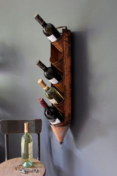 Antique Oil Can Rack, Repurposed Wine/Alcohol Holder. via Etsy.