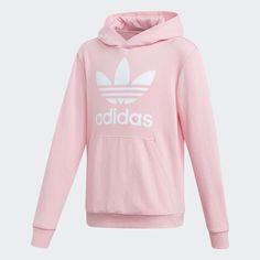 Trefoil Hoodie Pink M Kids Teenager Outfits, Outfits For Teens, Cute Outfits, Casual Outfits, Pink Adidas, Black Adidas, Adidas Trefoil Hoodie, Stylish Hoodies, Cute Sweatshirts