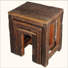 This charming set is built by hand from individually selected railroad ties. Furniture built with reclaimed wood offers a unique history while using eco-smart resources. This set of tables stacks neatly together allowing you to conserve space when you don't need all three end tables.