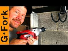 How To Drill into concrete to hang a TV, shelves, racks, etc. My DIY way to screw brackets into cement, same as brick. Watch our Hang A Shelf On A Brick Wall. Concrete Block Walls, Cinder Block Walls, Cement Walls, Wall Storage Shelves, Staircase Storage, Garage Door Makeover, Basement Makeover, Basement Renovations, Basement Ideas