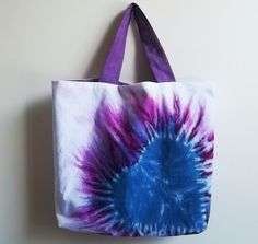 Colourful heart shaped tie dye cotton bag with matching by ACAmour, $30.00