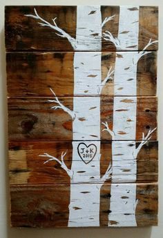 Custom Quaking Aspens with initials and date Pallet Art, Wood Sign, Wall Hanging, Upcycled, Repurposed, Wood Pallet, Hand Made, Wedding gift by EdisonAvenue on Etsy https://www.etsy.com/listing/202153680/custom-quaking-aspens-with-initials-and