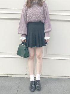 NAMIさんの「ボリューム袖ハイネックケーブルニット(who's who Chico)」を使ったコーディネート African Fashion, Korean Fashion, Asian Street Style, Japanese Fashion, Wardrobes, I Dress, Skater Skirt, Cute Outfits, Girly