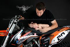 Motorcycle, dirt bike, newborn baby boy with his Daddy!