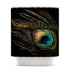 Kess InHouse Alison Coxon Peacock Black Shower Curtain, 69 by 70-Inch
